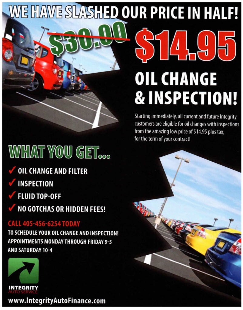 Schedule Service 15 Oil Changes Integrity Auto Finance